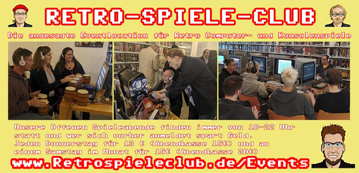 Retrospieleclub Event Events Offene Spieleabende gaming Spielen Computer Eventlocation Party Vorglühen Feiern besonderes